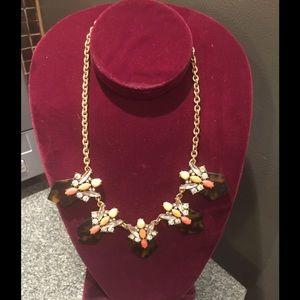 J. Crew Peach Brown Rhinestone Gold Tone Necklace